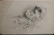 Dessin Original LUBIN DE BEAUVAIS XIXe - Femme Lisant - Art Nouveau LB8