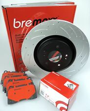 BREMBO pads & BREMAXX slotted disc brake rotors FRONT for NISSAN SKYLINE R32 GTR