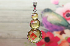Natural Citrine Pendant Faceted Round Gemstone Pendant Silver Plated