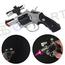 Revolver Lighter Laser Pointer Gun Gas Butane Refillable Windproof Jet - Silver