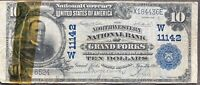 USA 10 Dollar 1902 National Currency $ Grand Forks Selten Schein Banknote #25344