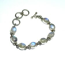 Exquisite Natural Blue White Moonstone .925 Silver Bracelet 6.5 inch +extension
