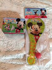 DISNEY MICKEY MOUSE CLUBHOUSE PADDLE BALL & MINIATURE LUNCH BOX TIN TOY SET