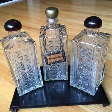 Decanters/Mid century modern Hollywood regency/liquor/set of three/Bourbon/label