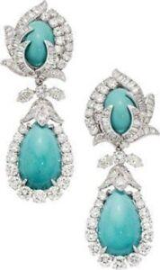 925 Sterling Silver Aqua Turquoise Round Baguette CZ Highend Dangle Earrings