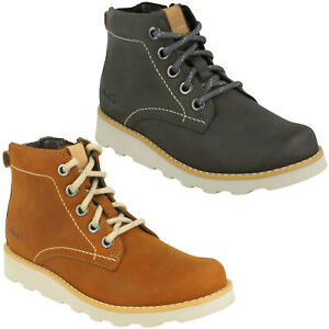 BOYS CLARKS DEXY TOP KIDS LACE UP WALKING WINTER ANKLE BOOTS JUNIOR SHOES SIZE