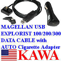 USB Cable w Auto Adapter for Magellan eXplorist 100/200