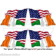 USA Amerika & IRLAND Wehende Flagge Amerikanische-Irischen Aufkleber 50mm x4