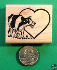 Cow Rubber Stamp, Wood Mounted