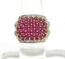 Exotic 18k Yellow Gold 4ctw Cabochon Ruby & Diamond Cluster Wide Band Ring