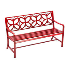 Red Metal Butterfly Indoor/Outdoor Garden Bench - Free Shipping
