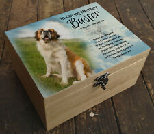Personalised memorial casket urn, pine wooden box, Saint Bernard dog