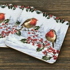 Set 4 Festive Robin Coasters Drinks Mats Christmas Dinner Table Decoration