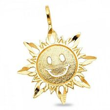 Sun Pendant Solid 14k Yellow Gold Charm Polished Diamond Cut Polished Fancy Cute