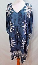 JESSICA TAYLOR WOMEN PLUS SIZE 2X INDIGO BLUE WHITE TIE DYE KAFTAN DRESS GYPSY 1