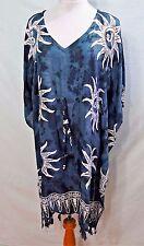 Jessica Taylor Women Plus Size 2x Indigo Blue White Tie Dye Caftan Dress Gypsy 9