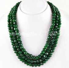 3 Rows 5x8mm Faceted Green Emerald Rondelle Gemstone Beads Necklace 17-19'' AAA