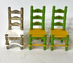 Mattel Vintage 1980 The Littles Green Metal Chairs Lot Of 2+1 Gold/White Chair