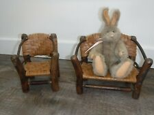 Miniature Wood Doll House furniture Chair and Couch Handmade