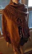 Alpaca shawl wrap  with crochet detail handmade in peru  NEW  full size $300