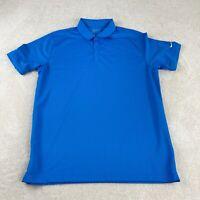 Nike Dri Fit Golf Polo Shirt Mens XL Blue 3 Button Collared Short Sleeve Casual