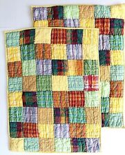 2 Company Store Patchwork Quilted Standard Pillow Shams Yellow Gingham Check