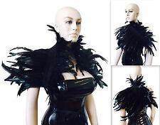 Unisex Black Coque Feather Shrug Shoulder Wrap Cape Burlesque gothic Collar