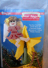 Plastic Canvas Christmas Tree Topper Star Angel Kit Needlecraft Shop NEW Vintage