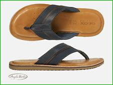 Sandalen Men Geox Flip-Flops aus Leder Hausschuhe Leder Sommerschuhe Artie Blau