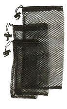 3 BLACK MESH NETTING NET STORAGE DITTY BAG SET fish fishing bait bags camping
