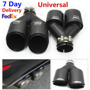 "Pair Akrapovic Real Carbon Fiber Exhaust Tip Dual Pipe ID:2.5"" 63mmOut:3.5""89mm"