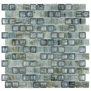 Modern 1X1 Square Blue Beige Metallic Glossy Hot Glass Mosaic Tile MTO0508