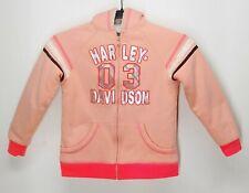 Harley Davidson Girls Light Orange Sherpa Lined Hoodie Size 6X Full Zip Kids