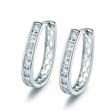 Stunning Silver White Gold Filled U Hollow Back Diamond Lady Party Hoop Earrings