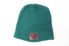 Love Your Melon Leather Patch Outdoor Winter Knit Beanie Hat Cap Green Unisex