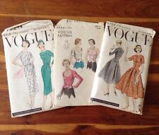 Lot Of 3 Uncut Size 12 Vintage Vogue Sewing Pattern Ladies Dress Blouse Classy