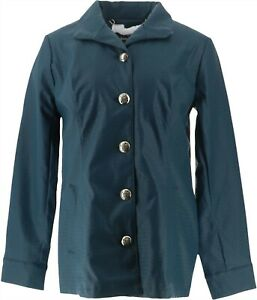 Dennis Basso Basket Weave Faux Leather Button Front Jacket Pine XS NEW A294631