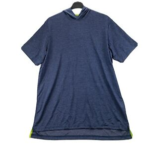 Big Tall Mens Active T Shirt Hoodie Blue Heathered 2XLT Stretch Short Sleeves NW