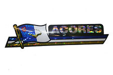 AZORES  LONG COUNTRY FLAG  METALLIC BUMPER STICKER DECAL ..11.75 X 3 INCH