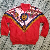 VTG 80s Resort Bay Windbreaker Jacket Nautical Sailing Red White Size Large