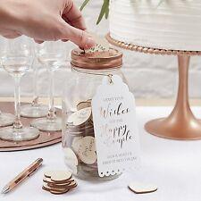Ginger Ray Wooden Hearts Wishing Jar Keepsake Alternative Wedding Guest Book