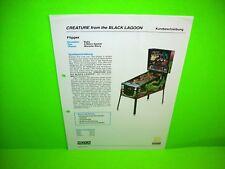 Bally Creature From The Black Lagoon Original German Text Pinball Machine Flyer