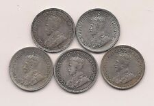1916,1917,1918,1919,1920 Canada Silver Five Cents-- Very Strong Crown Details!!