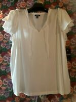 Chaps Women's Top Plus Size 1X White Eyelet Lace Ruffle Sleeve Shirt NEW