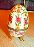 Porcelain China Hinged Egg Shaped Trinket Box with Pink and Yellow Roses