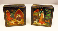 Pair (2) Vintage Russian Black Lacquer Fairy Tale Trinket Hinged Boxes Signed