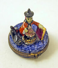 New French Limoges Trinket Box Halloween Witch Magic Potion Cauldron Black Cat