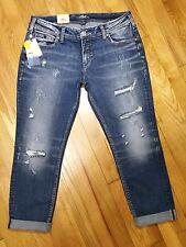 Silver Sam Boyfriend Slim Leg Jeans Mid Rise Distressed Medium L27107SC376 NWT