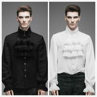 Fashion Men Shirt Gothic Steampunk Victorian Regency Aristocrat Cosplay Outwear