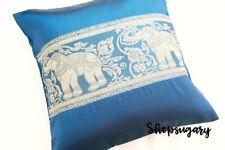 ThaiSeide Kissenbezug Kissenhülle 40x40cm ZwillingElefant marineblau pillow case